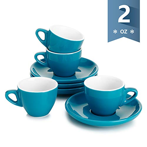 Sweese 401.107 Porcelain Espresso Cups with Saucers - 2 Ounce - Set of 4, Steel Blue