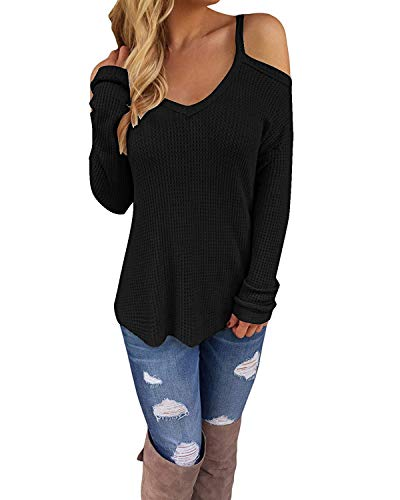 OURS Women's Cutout Off Shoulder Long Sleeve Pullover Sweater Knit Casual Blouse Tops (Black, S)