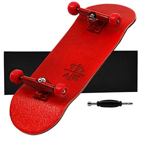 Teak Tuning Prolific Complete Fingerboard - Pro Board Shape and Size, Bearing Wheels,and Trucks - 32mm x 97mm Handmade Wooden Board - Red Rover Edition