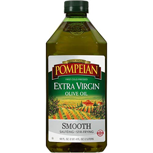 Pompeian Smooth Extra Virgin Olive Oil, First Cold Pressed, Mild and Delicate Flavor, Perfect for Sauteing and Stir-Frying, Naturally Gluten Free, Non-Allergenic, Non-GMO, 68 FL. OZ., Single Bottle