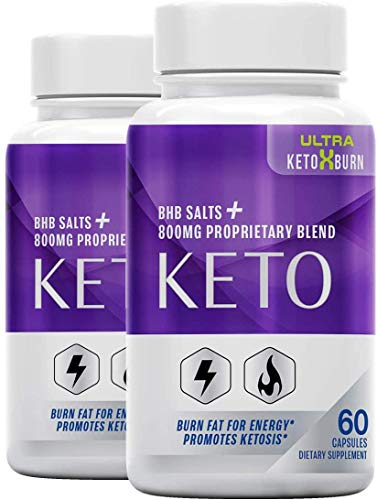 (2 Pack) Official Ultra Keto X Burn, BHB Ketones, 2 Bottle Package, 60 Day Supply