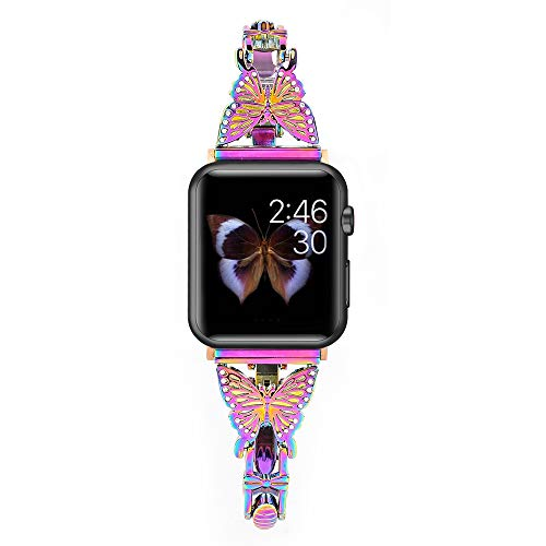BONICI Smart Watch Band Compatible with Apple Watch 6/SE/5/4/3/2/1 iWatch (38mm 40mm), Girl Women Elegant Butterfly Diamond Design Bracelet Style Thin Alloy Metal Replacement Bands Strap -Colorful