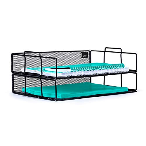 Mindspace 2 Tier Stackable Letter Tray Desk Organizer | Stackable Paper Tray Organizer | The Mesh Collection, Black