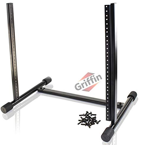 Rack Mount Stand with 10 Spaces by GRIFFIN | Music Studio Recording Equipment Sound Mixer Standing Case & 20 Screws | RackMount Pro Audio Network Amp Server Gear Rails For DJ Booth Cart, Stage & Bands