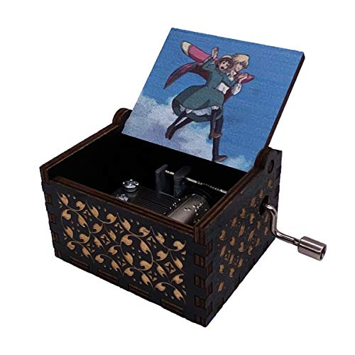 Music Box Howl's Moving Castle Engraved Wood Musical Box Hand Cranked Gift Box for Christmas,Birthday,Valentine's Day,Air Walk(Black)