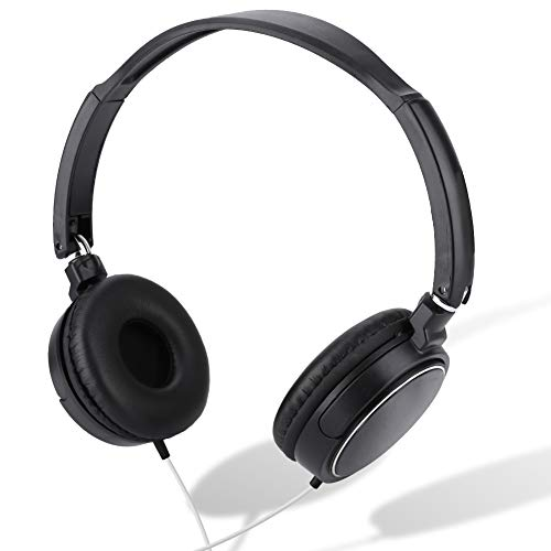 Ponacat Over Ear Wired Stereo Headphones for Podcasts, Foldable Studio Monitoring and Recording Headset for Computer, Keyboard and Guitar with 3.5 mm Jack, TF Card
