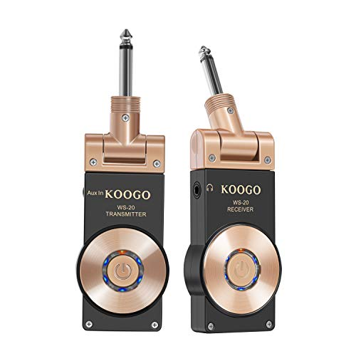 Koogo Wireless Guitar System 2.4GHz Digital Transmitter Receiver for Electric Musical Instrument To Amp with Rechargable Li-Battery USB Cable