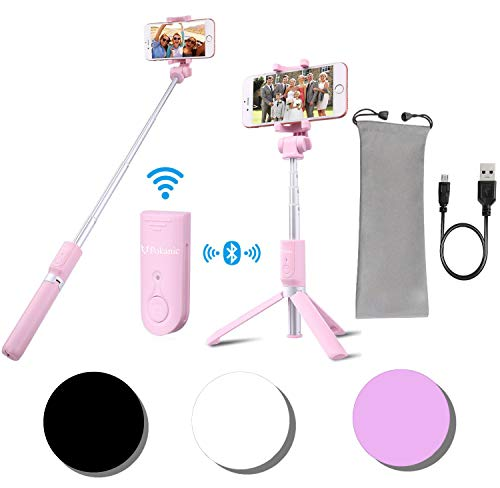 Selfie Stick Tripod POKANIC Bluetooth Wireless Remote Control Extendable Adjustable Stand Mount Compatible with iPhone XS Max/ XS/ XR/ X/ 8/ 8 Plus/ 7/ 7 Plus, Galaxy S10 Plus/ S10/ S10e/ S9/ (Pink)