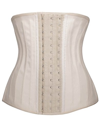 YIANNA Womens Waist Trainer Underbust 25 Steel Boned Sports Fitness Workout Hourglass Body Shaper Weight Loss, YA1210-Beige-XL