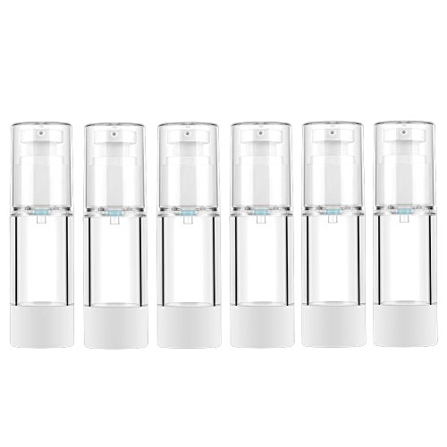 LONGWAY 1 Oz 30ml Clear Airless Cosmetic Cream Pump Bottle Travel Size Dispenser Refillable Containers/Foundation Travel Pump Bottle for Shampoo (Pack of 6)