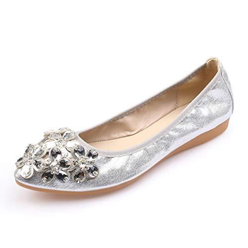 Lauthen.S Women Foldable Ballet Flats, Pointed Toe Wedding Rhinestone Slip on Flat Shoes(Silver,9 US M)