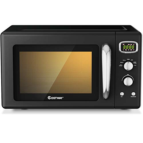 COSTWAY Retro Countertop Microwave Oven, 0.9Cu.ft, 900W Microwave Oven, with 5 Micro Power, Defrost & Auto Cooking Function, LED Display, Glass Turntable and Viewing Window, Child Lock, ETL Certification (Black)