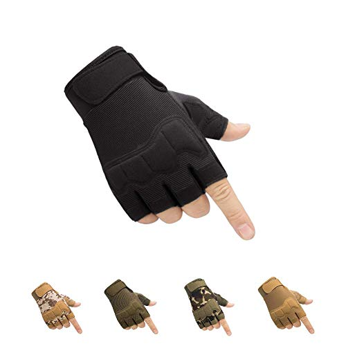 HYCOPROT Fingerless Tactical Gloves, Knuckle Protective Breathable Lightweight Outdoor Military Gloves for Shooting, Hunting, Motorcycling, Climbing (L, Black)