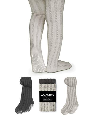 LA Active Baby Tights - 2 Pairs - Non Skid/Slip Cable Knit (Black & Grey 2T-3T)