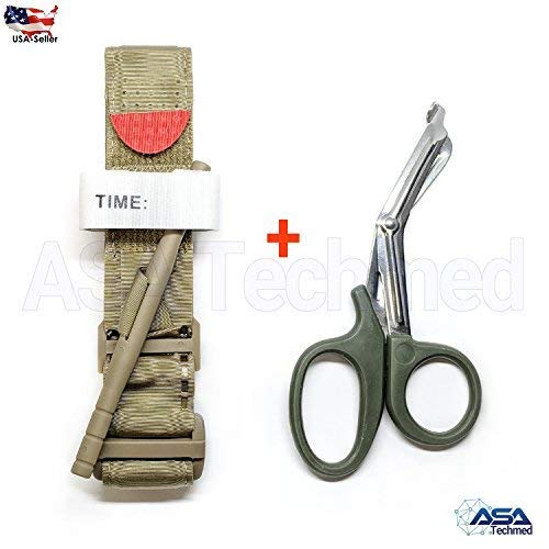 ASATechmed One Hand Tourniquet Combat Application First Aid Handed + Free Shear Coyote Ideal Product for Military, Hunting, Fishing, Doctors, Nurses, EMT, Paramedics and Firefighter