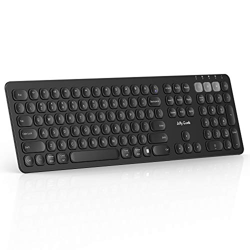 Multi-Device Bluetooth Keyboard, Jelly Comb Dual Mode Rechargeable 2.4G Wireless & Bluetooth Keyboard Full Size Switch to 3 Devices for PC Laptop iPad Mac OS Android iOS Windows-(Black)