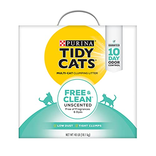 Purina Tidy Cats Clumping Cat Litter, Free & Clean Unscented Multi Cat Litter - 40 lb. Box