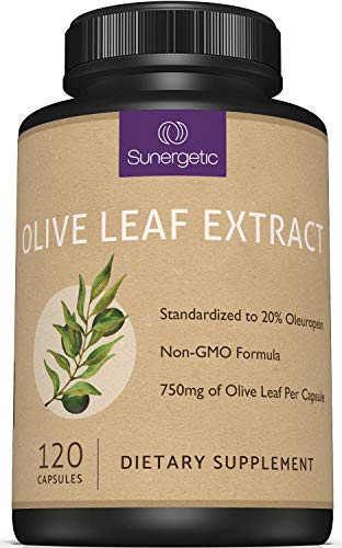Premium Olive Leaf Extract Capsules – Standardized to 20% Oleuropein – Super Strength Olive Leaf Exact Supplement Supports Immune System & Cardiovascular Health – 750mg Per Capsule – 120 Capsules