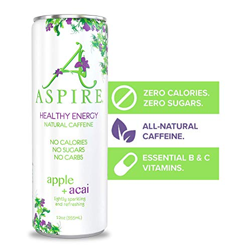 ASPIRE Healthy Energy Drink – Apple Acai, 12 Pack – Zero Sugar, Calories or Carbs – Keto, Vegan, Kosher – Contains Natural Caffeine, Vitamins B & C - No Jitters or Crash – 12oz Cans