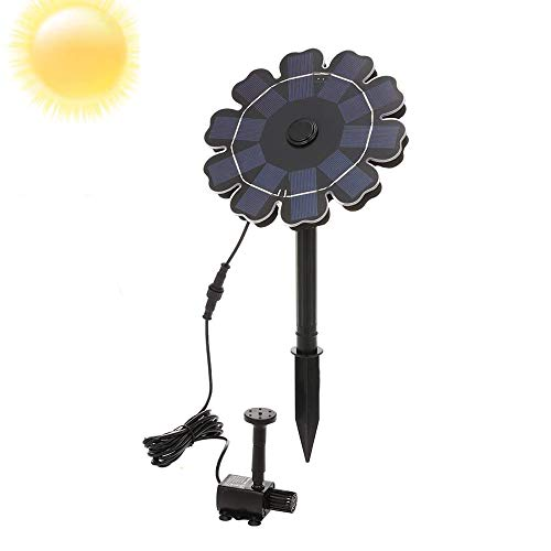 Decdeal Solar Fountain Pump for Bird Bath, 2.5W Solar Powered Sprinkler Fountain Pump, Flower Shaped Solar Panel with Stake for Garden Pond Pool Tank Birdbath Watering