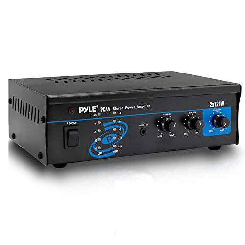 Pyle 2x120 Watt Home Audio Speaker Power Amplifier - Portable Dual Channel Surround Sound Stereo Receive