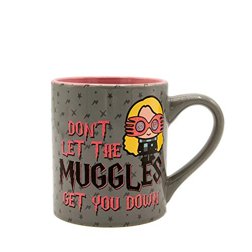 Silver Buffalo Harry Potter Don't Let the Muggles Get You Down Glitter Ceramic Mug, 14-Ounce, Gray