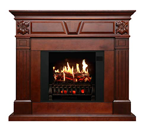 MagikFlame Electric Fireplace with Mantel - Neo Cherrywood - 26 Flames, Large, Freestanding, 5,200 BTU Heater, Crackling Log Sound, Bluetooth, App - New Home Design, Remodels, Family Atmosphere