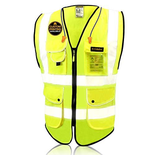 KwikSafety (Charlotte, NC) SUPERIOR (9 Pockets) Class 2 ANSI High Visibility Reflective Safety Vest Heavy Duty Mesh Zipper and Hi Vis Construction Surveying Engineering Work HiViz Men Yellow Medium