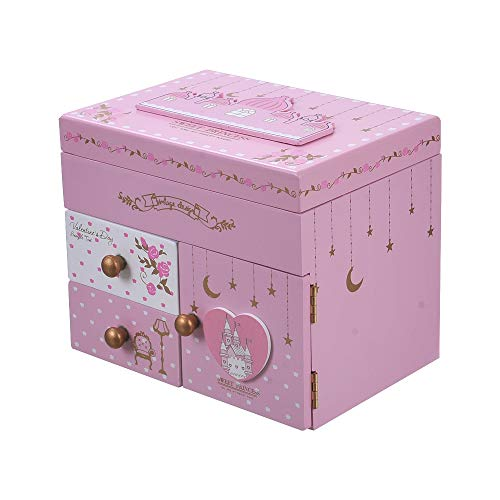 ColorSpring Girl's Musical Jewelry Storage Box with Pullout Drawer,Sweet Princess,Exclusive Castle Melody is Castle in The Sky (Pink Castle)