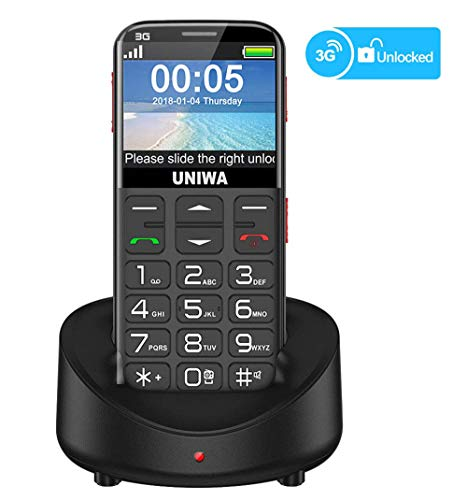 UNIWA Unlocked Cell Phone 3G Senior Cell Phone WCDMA GSM Cell Phone for Elderly People, 2.31' Curved Screen Embossed Keyboard Big Button Big Font SOS Emergency Simple Phone with Charging Dock (Black)