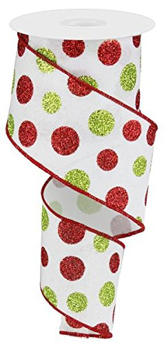 Glitter Multi Dots Wired Edge Ribbon - 2.5' x 10 Yards (White)