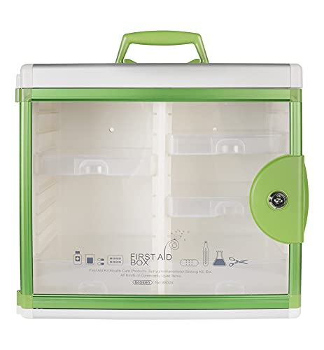 Glosen First Aid Box Lockable Medicine Box with Wall Mounted Function 13.6x6.5x12.4 Inch Green
