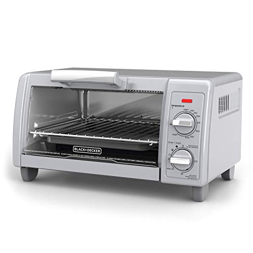 BLACK+DECKER  4-Slice Toaster Oven with Easy Controls, Silver, TO1705SG,Medium,Stainless Steel