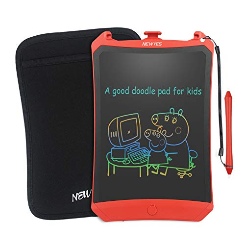 NEWYES Colorful Robot Pad 8.5 Inch LCD Writing Tablet with Lock Function Electronic Doodle Pads Drawing Board with Case and Lanyard Gifts for Kids Red