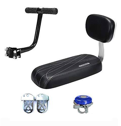 Bicycle Rear Seat Cushion Armrest Footrest Set, Bike Back Seat Child Safety Cushion Armrest Handrail Rear Feet Pedals Black