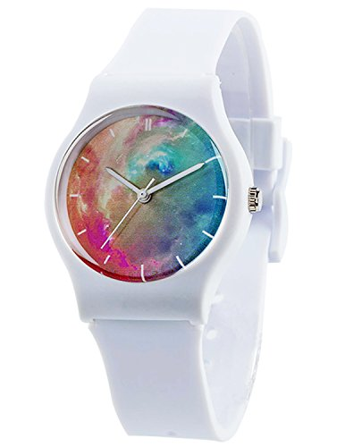 Tonnier Watches White Resin Super Soft Band Student Watches for Teenagers Young Girls Watches Nebula