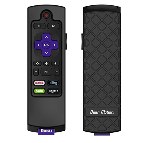 Bear Motion Case for Roku 2017/2018 Remote Controller - Silicone Shock Resistant Cover for Ruko 2017 Remote Controller (Streaming Stick/Stick + / Express Express + 2017/2018, Black)