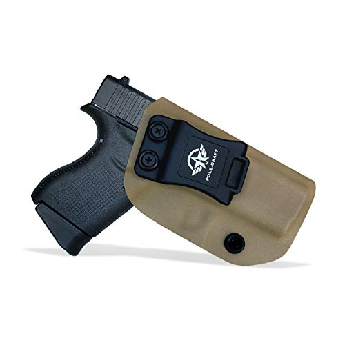 Glock 43 Holster, Glock 43X Holster - Kydex IWB Holster Glock 43 / Glock 43X Pistol Case Kydex - Inside Waistband Carry Concealed Holster Glock 43 Guns Accessories Pouch (Tan, Left Hand Draw)