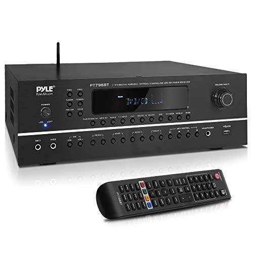 Pyle 7.1-Channel Hi-Fi Bluetooth Stereo Amplifier - 2000 Watt AV Home Theater Speaker Subwoofer Surround Sound Receiver w/ Radio, USB, RCA, HDMI, MIC IN, Supports 4K UHD TV, 3D, Blu-Ray - PT796BT