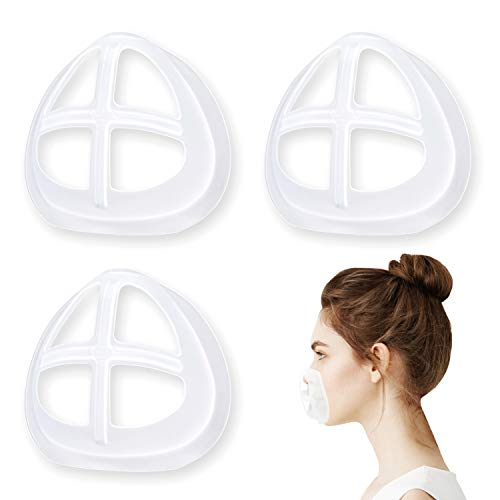 Face Mask Inner Support Frame Homemade Cloth Mask Cool Silicone Bracket More Space for Comfortable Breathing Washable Reusable, 3pcs Clear