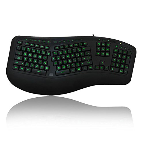 Adesso Tru-Form 150 3-Color Illuminated Ergonomic Keyboard AKB-150EB