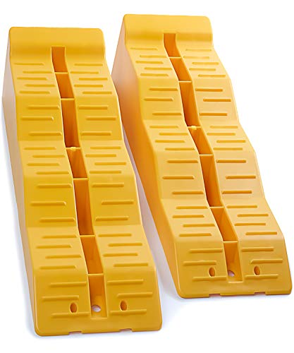 OxGord RV Leveling Ramps - Camper or Trailer Leveler/Wheel Chocks for Stabilizing Uneven Ground and Parking - Set of 2 Blocks, Yellow
