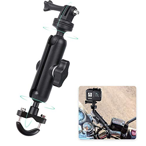 RUIGPRO 360°Motorcycle Bike Camera Holder Handlebar Mount Bracket 1/4 Metal Stand for GoPro Hero9/8/7/6/5/4/3+ Action Cameras Accessory(Cool Ballhead Arm Super Clamp Mount Multi)