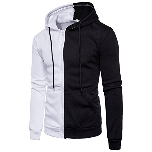Photno Fashion Men Hoodies Brand Sports Suit Men Sweatshirt Hoodie Casual Zipper Hooded Jackets Male (L, White - A)