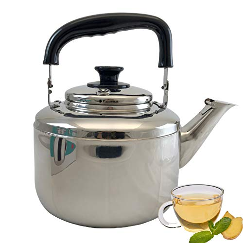 5.5 Liter Tea Kettle with Cool Touch Handle, Surgical Stainless Steel Teapot for All Stovetops: Ceramic, Induction, Electric & Coil
