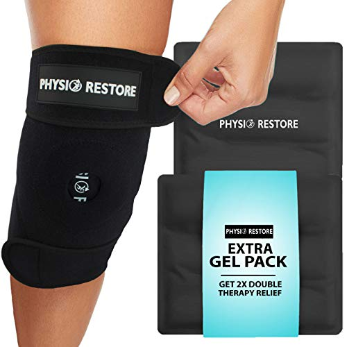 Physio Restore Knee Ice Pack Wrap - Knee Brace- Includes Two Reusable Hot & Cold Therapy Gel Packs and Travel Bag - Adjustable Compression Support for Pain, Injuries, Surgery, Bursitis and Arthritis