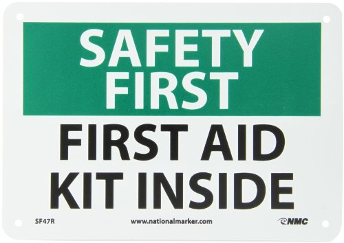 NMC SF47R OSHA Sign, Legend 'SAFETY FIRST - FIRST AID KIT INSIDE', 10' Length x 7' Height, Rigid Plastic, Black/Green on White