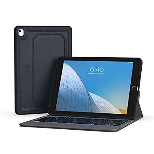 ZAGG Rugged Messenger – Backlit Case and Bluetooth Keyboard – Made for Apple iPad 10.2'' – Durable Case with Built-in Stand – Multiple-Device - Charcoal (103104651)