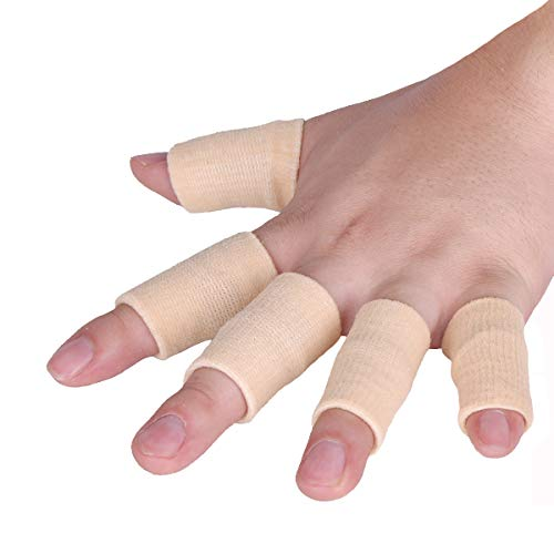Luniquz Finger Sleeves, Thumb Splint Brace for Finger Support, Relieve Pain for Arthritis,Triggger Finger, Compression Aid for Sports, Beige