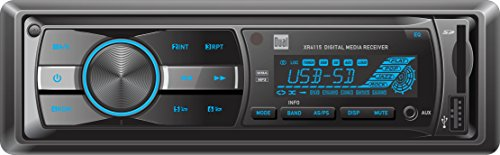 Dual Electronics XR4115 Multimedia Detachable Mechless LCD High Resolution Single DIN Car Stereo Receiver with Built-In USB, SD Card, MP3 & WMA Player